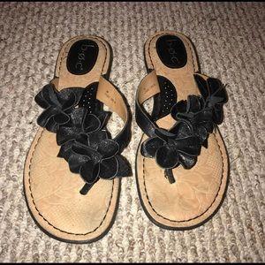 BOC B.O.C Black Flower flip flops